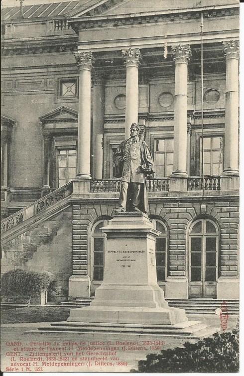 Serie 1 nr. 321 Zuilengalerij van het Gerechtshof (L. Roelandt); 1835-1843) en standbeeld van advocaat H. Metdepenningen (J. Dillens, 1886)