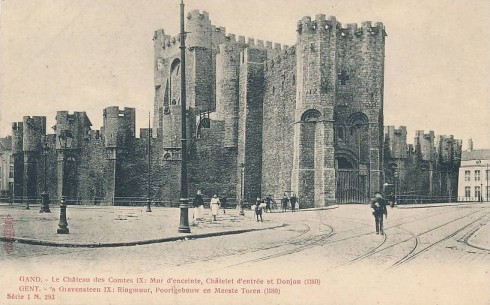 Serie 1 nr. 293 's Gravensteen IX: Ringmuur, Poortgebouw en Meeste Toren (1180)