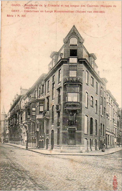 Serie 1 nr. 329 Citadellaan en Lange Kazernenstraat (huizen van 1900-1905)